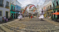 Special Decoration of Baianas in front of Sao Francisco Church Stock Footage