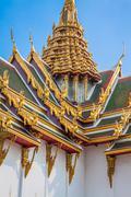 Roof of Wat Phra Kaew, Temple of the Emerald Buddha, Bangkok, Thailand. Stock Photos