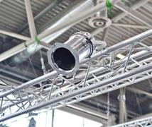 exhibition equipment: metal spotlight - stock photo