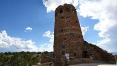 4K Grand Canyon East Rim Watchtower 01 Desert View Handy Shot - stock footage