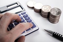 calculation of budget calculator - stock photo