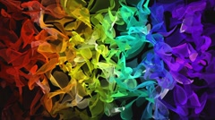Rainbow color digital fractal flowing over black background - stock footage