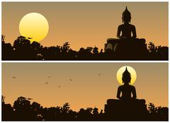 Buddha Sunset Stock Illustration