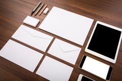 Blank Template. Consist of Business cards, letterhead a4, Tablet PC, eraser , Stock Photos