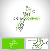 Digital electronics logo design Stock Illustration