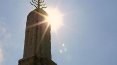 Buddhist stupa sun star light Stock Footage