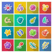 Germs and Bacteria Flat Icons Set Stock Illustration