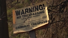 No Trespassing Sign Stock Footage