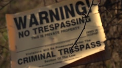 No Trespassing Sign - stock footage