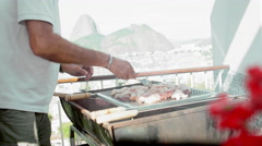 Stock Video Footage of Man preparing authentic Brazilian BBQ