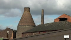 Vintage old industrial conical bottle kiln victorian architecture Stock Footage