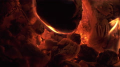 Flames and Fiery Coals in 4K (1 of 3) Stock Footage