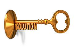 Solution - Golden Key is Inserted into the Keyhole - stock illustration