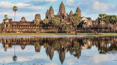 Timelapse of Cambodia landmark Angkor Wat - stock footage