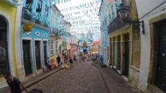 Walking on the Old City - Pelourinho in Salvador, Bahia, Brazil Stock Footage