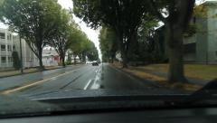 Driving west on E 1st Ave on rainy day in downtown Vancouver, BC. Stock Footage