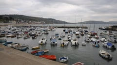 Lyme Regis harbour Dorset England UK Stock Footage