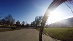 bike ride on the summer park - stock footage