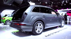 Audi Q7 SUV rear view Stock Footage
