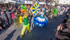 Brazilian Carnaval, Rio de Janeiro style - Porta Bandeira and the Mestre Sala Stock Footage
