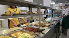 Lunch in the canteen. The waiter serves visitors. Stock Footage