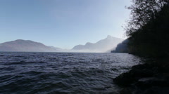morning at lake in austria - stock footage