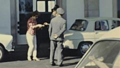 Spain 1965: guards checking passport at the border Stock Footage