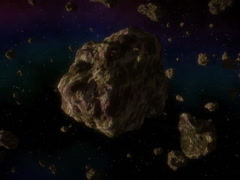 Asteroid in space generated video, 640x480 Stock Footage