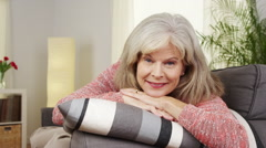 Senior woman smiling at camera Stock Footage