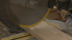 Construction, 2 cuts with a miter saw Stock Footage