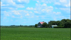 Kankakee Illinois farming in Midwest on sunny day with clouds - stock footage
