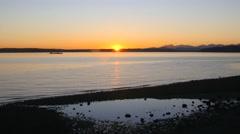 Puget Sound Sunet w/ Ship Stock Footage