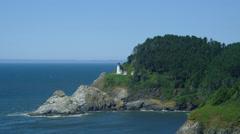 View of Heceta Head Lighthouse at Oregon coast Stock Footage