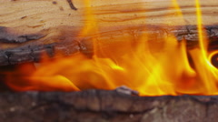 Wood burning in campfire. Shot on RED EPIC for high quality 4K, UHD, Ultra HD - stock footage