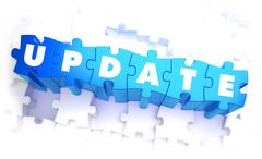 Update - Word in Blue Color on Volume  Puzzle - stock illustration