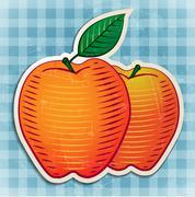 vector vintage apples sticker - stock illustration