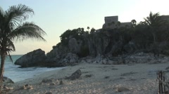 Mexico, Cancun, Tulum, Mayan God of the Winds Temple ruin, Caribbean beach & sea Stock Footage