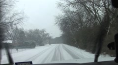 Icy road conditions driver POV Stock Footage