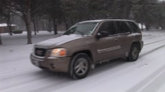car slipping on icy road - stock footage