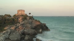 Mexico, Cancun Tulum Mayan God of the Winds Temple ruin, Caribbean beach & sea Stock Footage