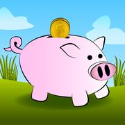 Cute Outdoor Vector Piggy Bank with Gold Coin - stock illustration