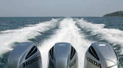 Powerful engines Honda established by speedboat Stock Footage