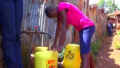 Public Water Tap, Nairobi, Kenya Stock Footage
