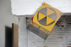 Fallout shelter sign with blood - stock photo