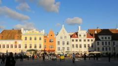 Tallinn Town Hall Square, sunset, editorial Stock Footage