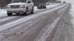 Car slipping on icy road Stock Footage