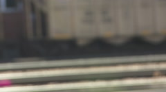 Medium close up of a coal train rolling along in Montana - stock footage