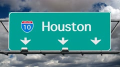 Houston Interstate 10 Freeway Sign Time Lapse Stock Footage