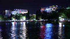 Time Lapse of Hoan Kiem Lake and Skyline at Night - Hanoi Vietnam Stock Footage