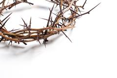 A crown of thorns on a white background - Easter. religion. Stock Photos